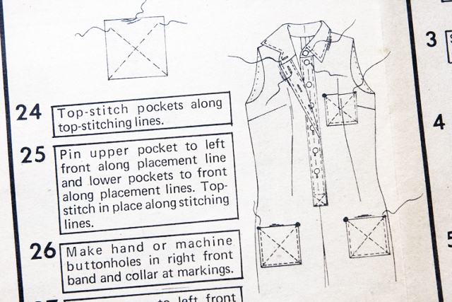 Order of construction for sewing patch pockets : Pattern Scissors Cloth