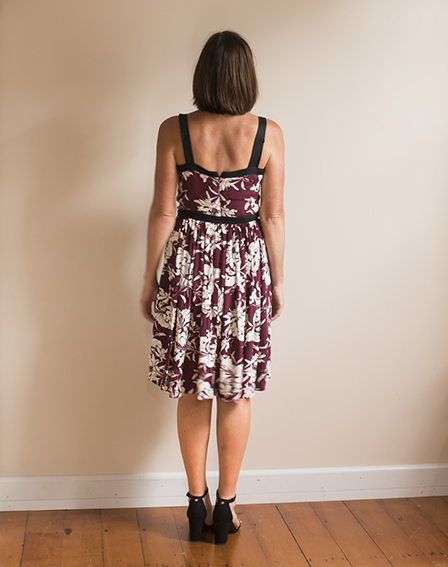 Pattern Scissors Cloth Burgundy Floral Dress