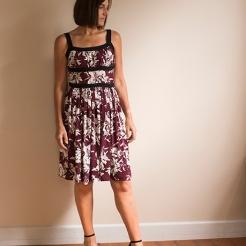 Pattern Scissors Cloth Burgundy Floral Dress