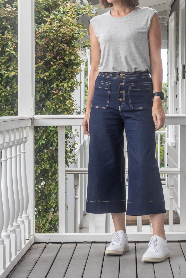Pattern Scissors Cloth - Denim Cropped Sailor Pant