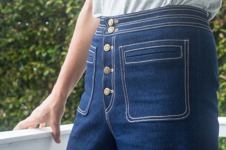 Denim Sailor Pants - Pockets and Fly Fastening - Pattern Scissors Cloth