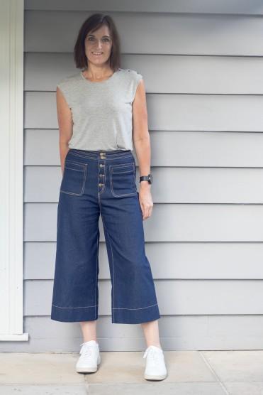 Denim Cropped Sailor Pants - Pattern Scissors Cloth